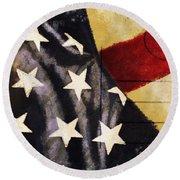 America Flag Pattern Postcard Round Beach Towel