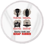 America Needs Your Scrap Rubber Round Beach Towel