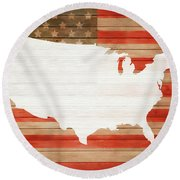 America Rustic Map On Wood Round Beach Towel