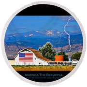 America The Beautiful Poster Round Beach Towel