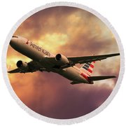 American Airlines 767 N345an Round Beach Towel