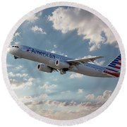 American Airlines A321-231 N917uy Round Beach Towel