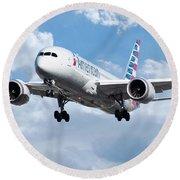 American Airlines Boeing 787 Dreamliner Round Beach Towel