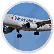 American Airlines Plane Preparing To Land At The Bwi Airport Round Beach Towel
