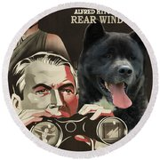 American Akita Art Canvas Print - Rear Window Movie Poster Round Beach Towel