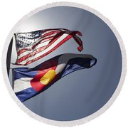 American And Colorado Flags Round Beach Towel