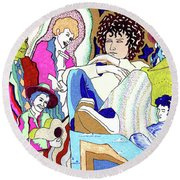 Jelly Roll Bob - Portraits Of Dylan Round Beach Towel