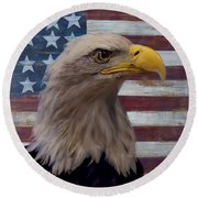 American Bald Eagle And American Flag Round Beach Towel