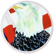 American Bald Eagle Painting #256 Round Beach Towel