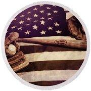 American Baseball Grunge Round Beach Towel