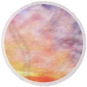 American Beach Cottage Art And Feelings-3 Round Beach Towel