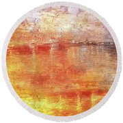 American Beach Cottage Art And Feelings-5 Round Beach Towel