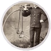 American Bicyclist, 1880s Round Beach Towel