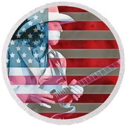 American Bluesman Stevie Ray Vaughan Round Beach Towel
