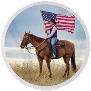 American Cowgirl Round Beach Towel
