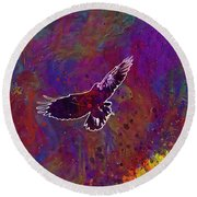 American Crow Flying Ave Fauna  Round Beach Towel