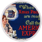 American Express Shipping Round Beach Towel