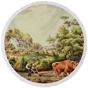 American Farm Scenes Round Beach Towel by Currier and Ives