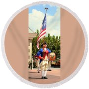 American Fife And Drum Corp Flag Carrier Round Beach Towel