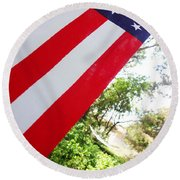 American Flag 1 Round Beach Towel