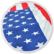 American Flag 2 Round Beach Towel