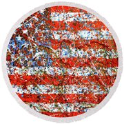 American Flag Abstract 2 With Trees  Round Beach Towel