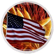American Flag And Fireworks Round Beach Towel
