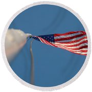 American Flag At The End Of Tall Post With Blue Skies Round Beach Towel