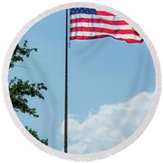 American Flag Flying Proud Round Beach Towel