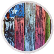American Flag Gate Round Beach Towel