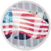 American Flag In Front Of Business Building  Round Beach Towel