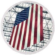 American Flag In Kennedy Library Atrium - 1982 Round Beach Towel