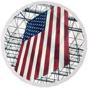 American Flag In Kennedy Library Atrium - 1982 Round Beach Towel