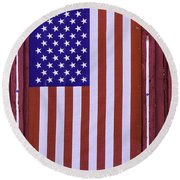 American Flag In Red Window Round Beach Towel