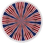 American Flag Kaleidoscope Abstract 6 Round Beach Towel