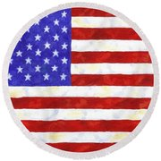 American Flag Round Beach Towel by Linda Mears