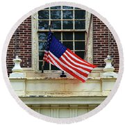 American Flag On An Old Building Round Beach Towel