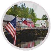 American Flag On Creek Street Ketchikan Alaska Round Beach Towel