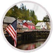 American Flag On Creek Street Ketchikan Alaska Painting Round Beach Towel