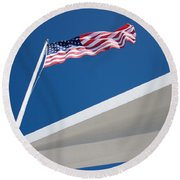 American Flag Over Pearl Harbor Round Beach Towel