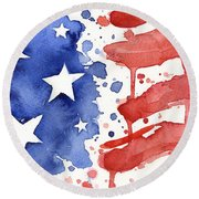 American Flag Watercolor Painting Round Beach Towel