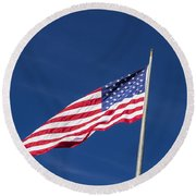 American Flag Waving In The Breeze Round Beach Towel