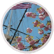American Flag With Cherry Blossoms Round Beach Towel