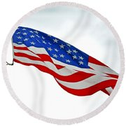 American Flag With Eagle Round Beach Towel