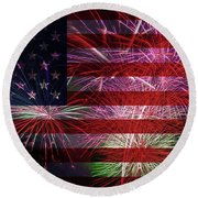 American Flag With Fireworks Display Round Beach Towel