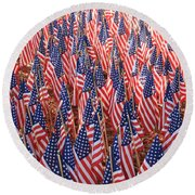 American Flags In Tampa Round Beach Towel