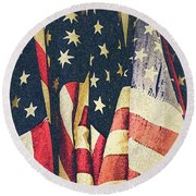 American Flags Painted Square Format Round Beach Towel