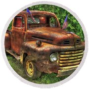 American Ford 1950 F-1 Ford Pickup Truck Art Round Beach Towel
