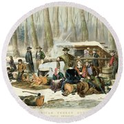 American Forest Scene Maple Sugaring Round Beach Towel