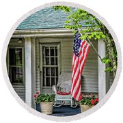 American Front Porch Round Beach Towel